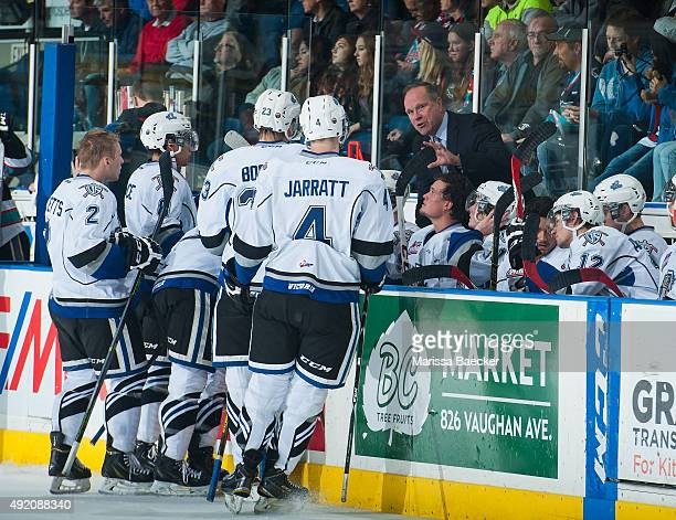 Head coach Dave Lowry takes a time out against the Kelowna Rockets on OCTOBER 9 2015 at Prospera Place in Kelowna British Columbia Canada
