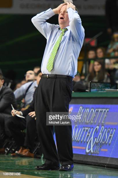 Head coach Dave Paulson of the George Mason Patriots reacts to a call during a college basketball game against the Southern University Jaguars at the...