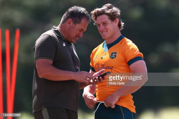 Head Coach Dave Rennie and Michael Hooperduring the Australian Wallabies Captain's Run at RACV Royal Pines Resort on September 17, 2021 in Gold...
