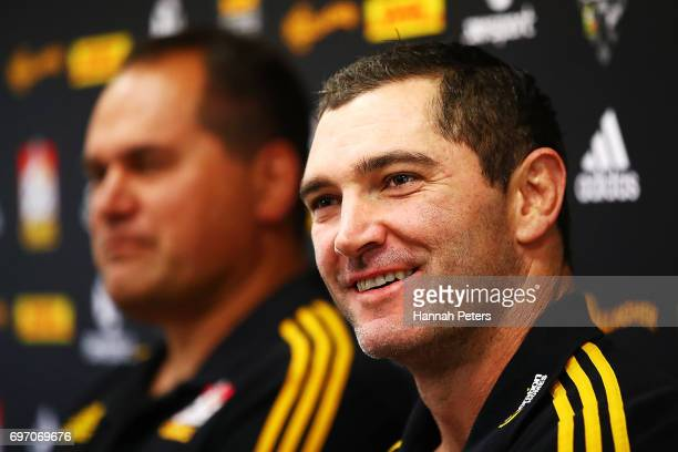 Head coach Dave Rennie and Stephen Donald speak to the media ahead of a Chiefs training session on June 18 2017 in Hamilton New Zealand