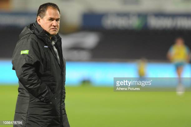 Head Coach Dave Rennie of Glasgow Warriors during the pre match warm up for the Guinness Pro14 Round 8 match between the Ospreys and Glasgow Warriors...