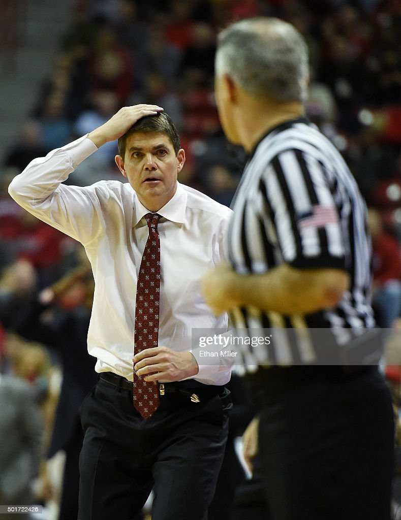 Head coach Dave Rice of the UNLV Rebels reacts to an official's call during a game against the Arizona State Sun Devils at the Thomas & Mack Center on December 16, 2015 in Las Vegas, Nevada. Arizona State won 66-56.