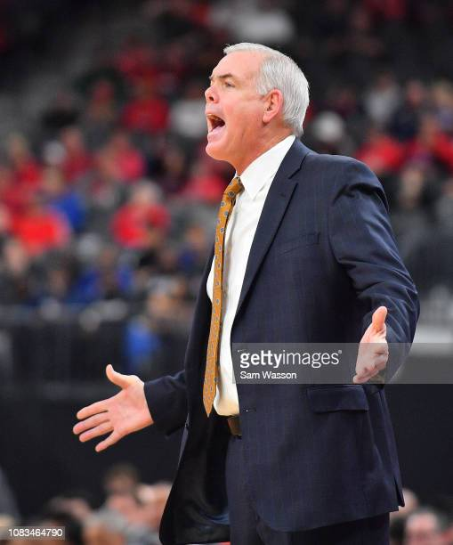 Head coach Dave Rose of the Brigham Young Cougars gestures during his team's game against the UNLV Rebels at TMobile Arena on December 15 2018 in Las...