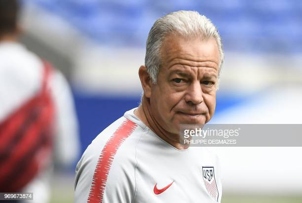 US head coach Dave Sarachan looks on during a training session of the US national football team on June 8 at the Groupama Stadium in DecinesCharpieu...