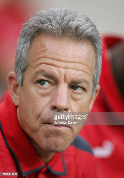 Head Coach Dave Sarachan of the Chicago Fire looks on during their MLS match against the Kansas City Wizards on August 10 2005 at Soldier Field in...