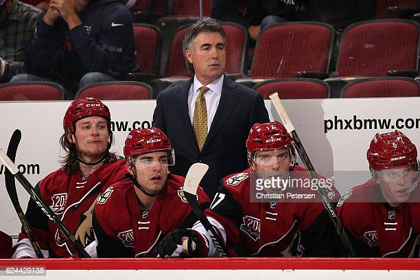 Head coach Dave Tippett of the Arizona Coyotes during the second period of the NHL game against the San Jose Sharks at Gila River Arena on November 1...