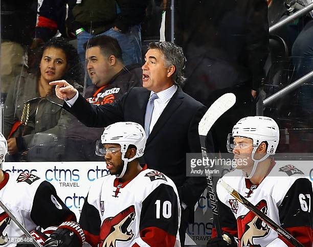 Head coach Dave Tippett of the Arizona Coyotes gives instructions against the New Jersey Devils during the game at Prudential Center on October 25...