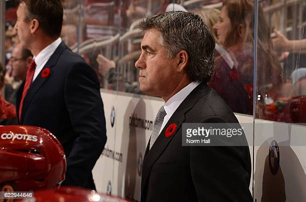 Head coach Dave Tippett of the Arizona Coyotes looks on from the bench against the Winnipeg Jets at Gila River Arena on November 10 2016 in Glendale...
