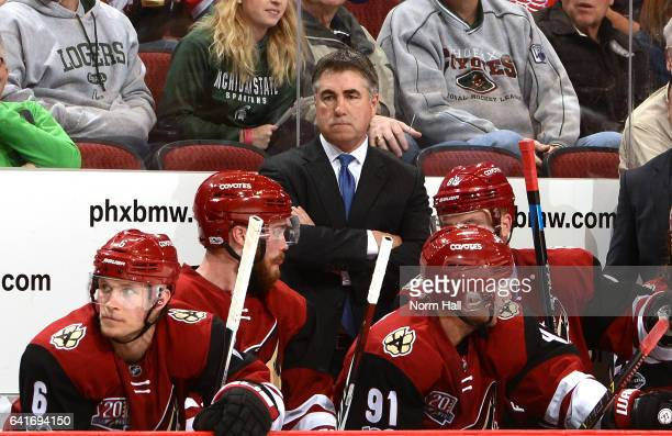 Head coach Dave Tippett of the Arizona Coyotes looks on from the bench against the Montreal Canadiens at Gila River Arena on February 9 2017 in...