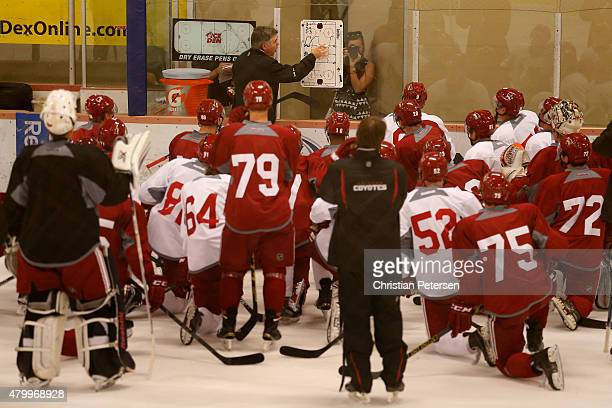 Head coach Dave Tippett of the Arizona Coyotes prepares drills in the prospect development camp at the Ice Den on July 8 2015 in Scottsdale Arizona
