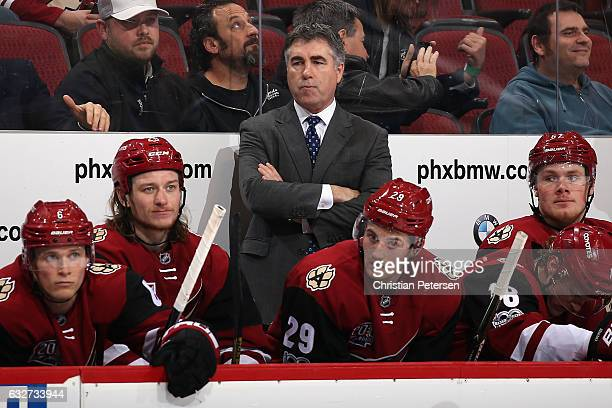 Head coach Dave Tippett of the Arizona Coyotes reacts on the bench during the third period of the NHL game against the Florida Panthers at Gila River...
