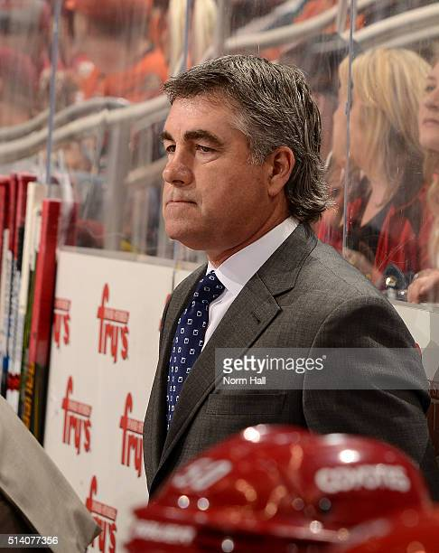 Head coach Dave Tippett of the Arizona Coyotes watches for the bench against the Anaheim Ducks at Gila River Arena on March 3 2016 in Glendale Arizona