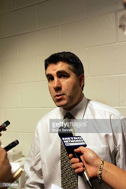 Head coach Dave Tippett of the Dallas Stars talks to reporters following the game against the San Jose Sharks on January 30 2007 at HP Pavilion in...