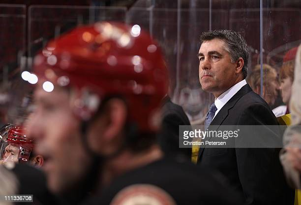 Head Coach Dave Tippett of the Phoenix Coyotes during the NHL game against the Dallas Stars at Jobingcom Arena on March 29 2011 in Glendale Arizona...