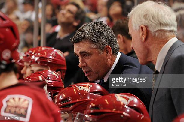 Head Coach Dave Tippett of the Phoenix Coyotes talks to his team during a stop in play against the San Jose Sharks on April 8 2011 at Jobingcom Arena...