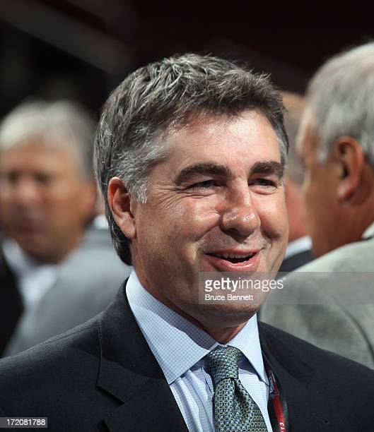 Head coach Dave Tippett of the Phoenix Coyotes works the 2013 NHL Draft at Prudential Center on June 30 2013 in Newark New Jersey