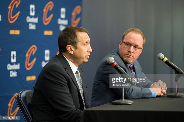 Head coach David Blatt of the Cleveland Cavaliers and general manager David Griffin during the Cleveland Cavaliers media day at Cleveland Clinic...