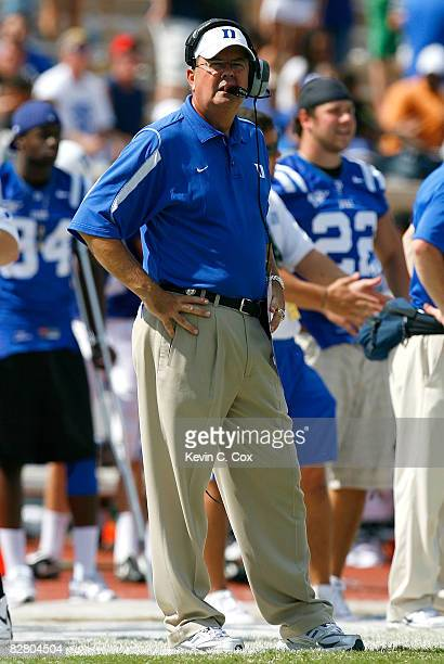 Head coach David Cutcliffe of the Duke Blue Devils looks on against the Navy Midshipmen during the game at Wallace Wade Stadium on September 13 2008...