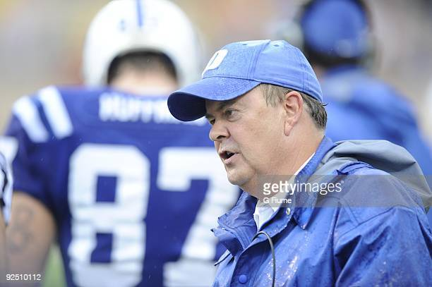 Head coach David Cutcliffe of the Duke Blue Devils watches the game against the Maryland Terrapins at Wallace Wade Stadium on October 24, 2009 in...