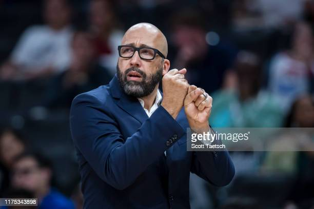 Head coach David Fizdale gestures during the first half against the Washington Wizards at Capital One Arena on October 7 2019 in Washington DC NOTE...