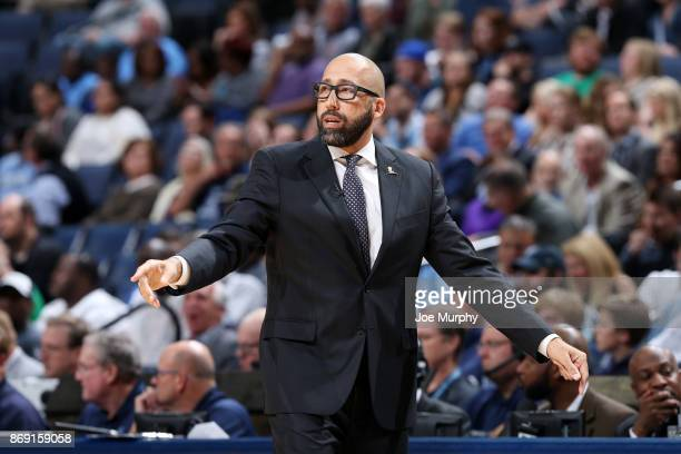 Head Coach David Fizdale of the Memphis Grizzlies coaches during the game against the Orlando Magic on November 1 2017 at FedExForum in Memphis...