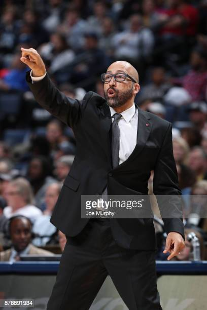 Head Coach David Fizdale of the Memphis Grizzlies coaches during the game against the Portland Trail Blazers on November 20 2017 at FedExForum in...