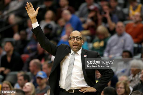 Head coach David Fizdale of the Memphis Grizzlies encourages his team on the sidelines against the Denver Nuggets at the Pepsi Center on February 26...