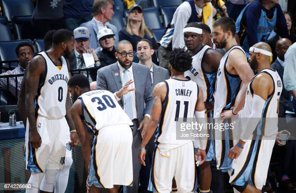 Head Coach David Fizdale of the Memphis Grizzlies gives instruction during a timeout in Game Six of the Western Conference Quarterfinals of the 2017...