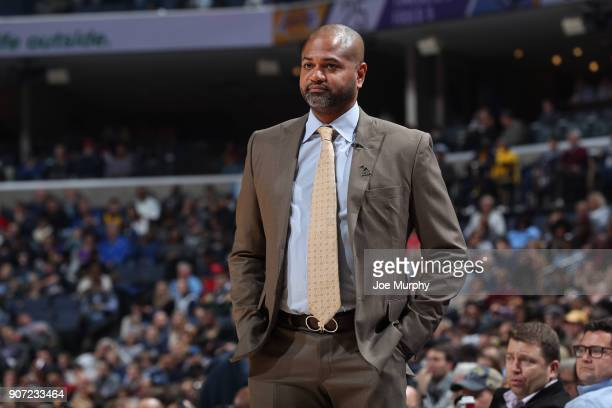 Head Coach David Fizdale of the Memphis Grizzlies looks on during the game against the Los Angeles Lakers on January 15 2018 at FedExForum in Memphis...