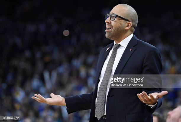 Head coach David Fizdale of the Memphis Grizzlies reacts to the referee's call on the floor against the Golden State Warriors during an NBA...