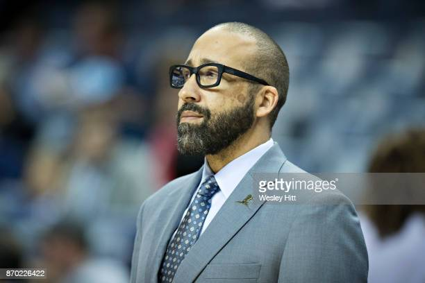 Head Coach David Fizdale of the Memphis Grizzlies watching his team during a game against the Charlotte Hornets at the FedEx Forum on October 30 2017...