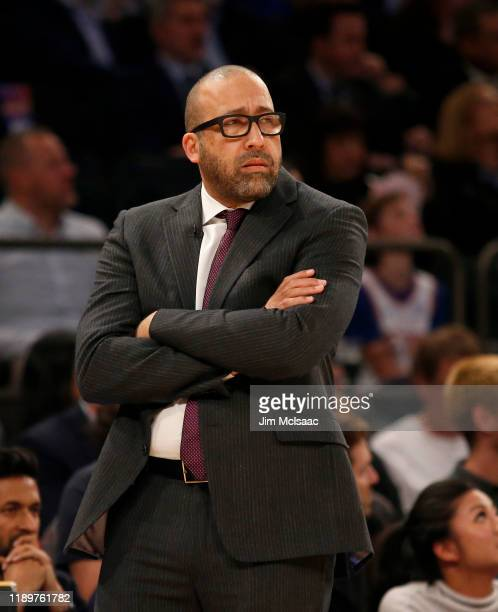 Head coach David Fizdale of the New York Knicks in action against the Dallas Mavericks at Madison Square Garden on November 14 2019 in New York City...