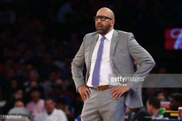 Head Coach David Fizdale of the New York Knicks looks on against the Brooklyn Nets at Madison Square Garden on November 24 2019 in New York...