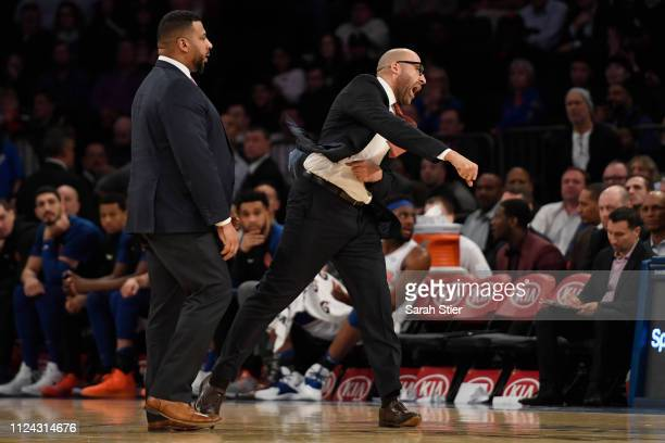 Head coach David Fizdale of the New York Knicks reacts after he was escorted off of the court during the fourth quarter of the game against the...