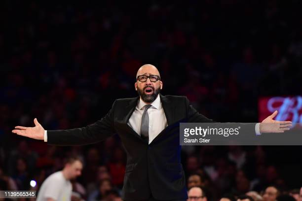 Head coach David Fizdale of the New York Knicks reacts during the first half of the game against the Miami Heat at Madison Square Garden on March 30...
