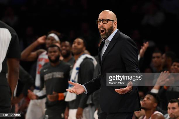 Head coach David Fizdale of the New York Knicks reacts during the fourth quarter of the preseason game against the Atlanta Hawks at Madison Square...