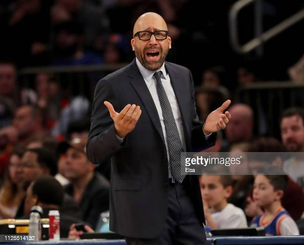 Head coach David Fizdale of the New York Knicks reacts to a call against the New York Knicks in the third quarter against the Miami Heat at Madison...