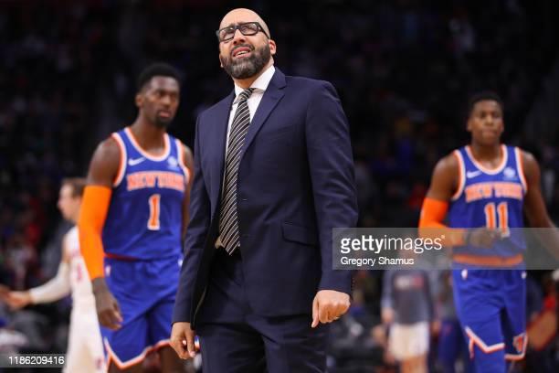 Head coach David Fizdale of the New York Knicks reacts while playing the Detroit Pistons at Little Caesars Arena on November 06 2019 in Detroit...