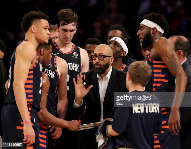 Head coach David Fizdale of the New York Knicks talks to his players during a time out in the fourth quarter against the Washington Wizards at...