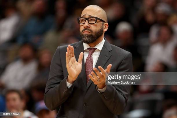 Head coach David Fizdale of the New York Knicks works the sidelines against the Denver Nuggets at the Pepsi Center on January 01 2019 in Denver...