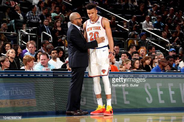 Head Coach David Fizdale talks with Kevin Knox of the New York Knicks against the New Orleans Pelicans during a preseason game on October 5 2018 at...