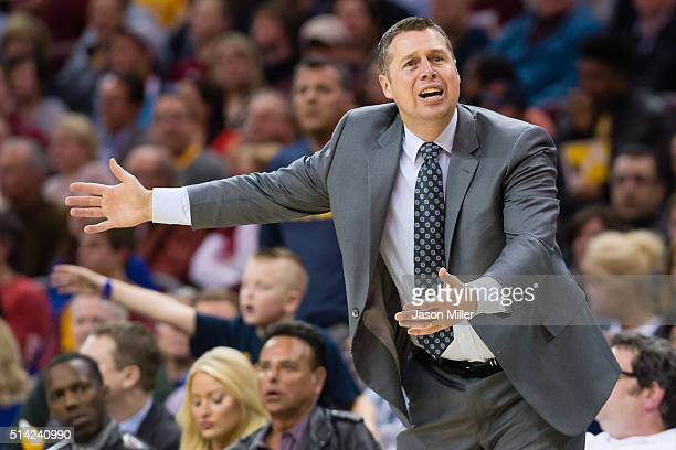 Head coach David Joerger of the Memphis Grizzlies argues a call during the second half against the Cleveland Cavaliers at Quicken Loans Arena on...