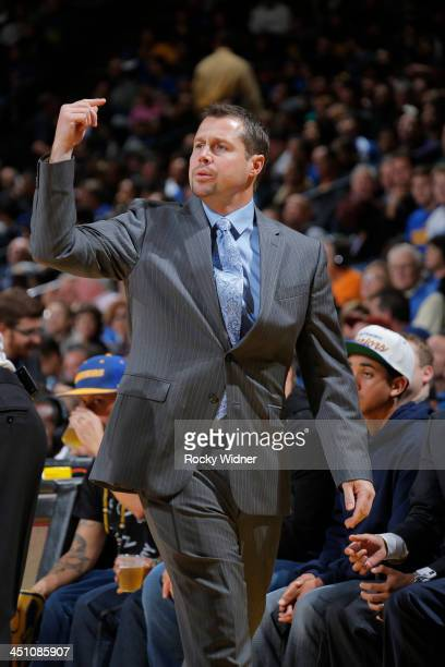 Head Coach David Joerger of the Memphis Grizzlies during a game against the Golden State Warriors on November 20 2013 at Oracle Arena in Oakland...