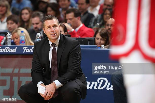 Head coach David Joerger of the Memphis Grizzlies during the game against the Oklahoma City Thunder on November 16 2015 at FedExForum in Memphis...