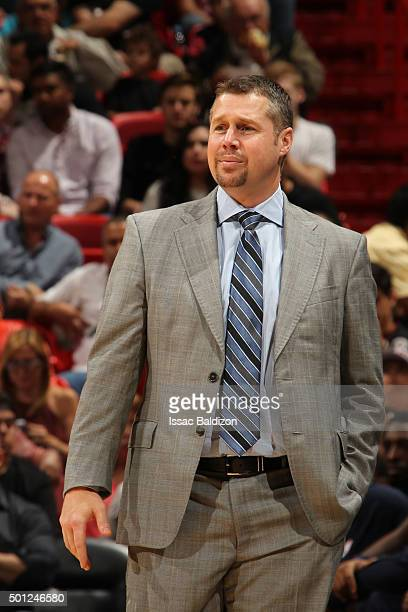 Head coach David Joerger of the Memphis Grizzlies during the game against the Miami Heat on December 13 2015 at American Airlines Arena in Miami...