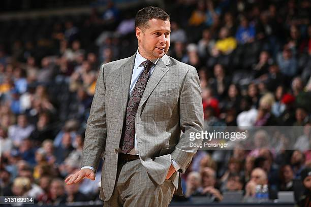 Head coach David Joerger of the Memphis Grizzlies leads his team against the Denver Nuggets at Pepsi Center on February 29 2016 in Denver Colorado...