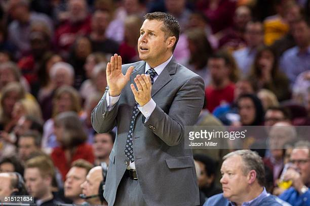 Head coach David Joerger of the Memphis Grizzlies watches his team during the first half against the Cleveland Cavaliers at Quicken Loans Arena on...