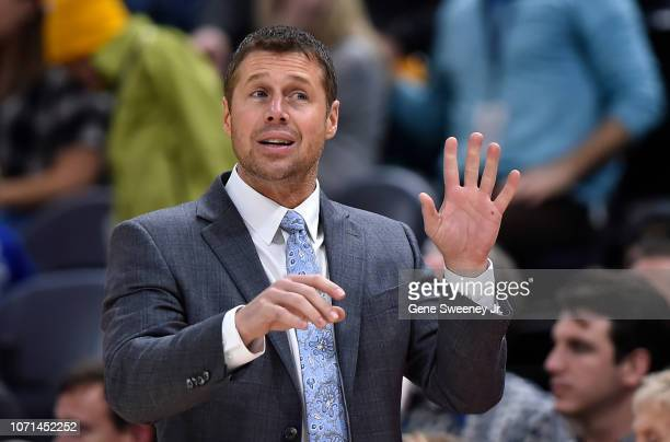 Head coach David Joerger of the Sacramento Kings gestures from the sideline in a NBA game against the Utah Jazz at Vivint Smart Home Arena on...