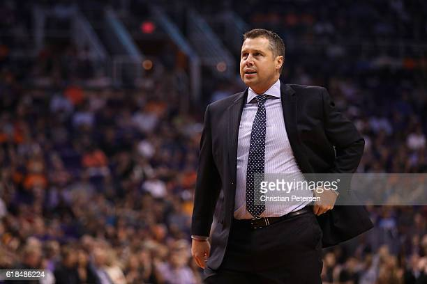 Head coach David Joerger of the Sacramento Kings reacts during the first half of the NBA game against the Phoenix Suns at Talking Stick Resort Arena...
