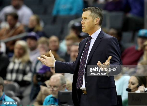 Head coach David Joerger of the Sacramento Kings reacts during their game against the Charlotte Hornets at Spectrum Center on January 17 2019 in...